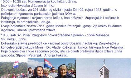 """ZRIN – 2019""""HODOČAŠĆE – KOMEMORACIJA,14.rujna 2019. godine u ZRINU…"""